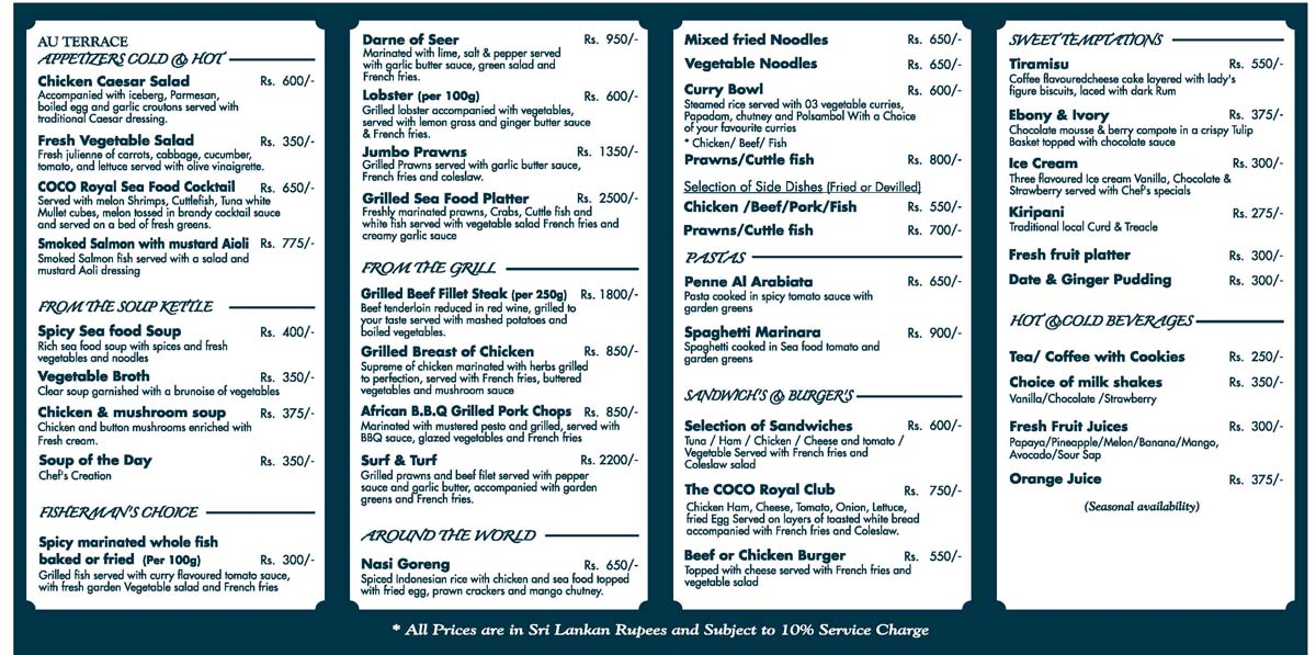Ocean View Cafe Menu